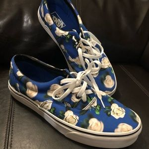Vans Blue Floral Shoes Size 10.5